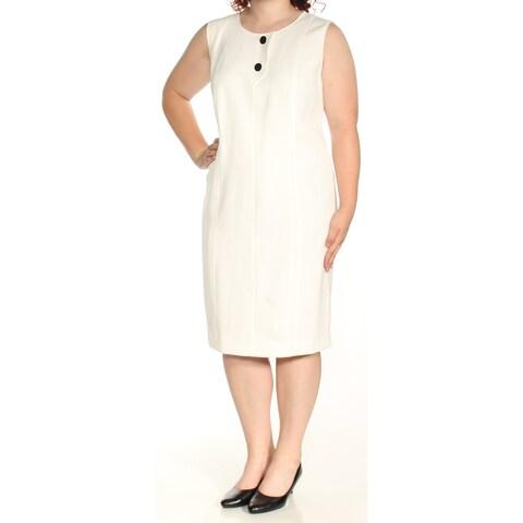 Womens Ivory Sleeveless Knee Length Sheath Wear To Work Dress Size: 18