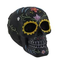 Hand Painted Black Day of the Dead Sugar Skull Statue