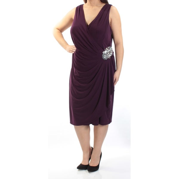 Shop Womens Purple Sleeveless Below The Knee Faux Wrap