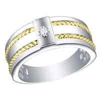 Prism Jewel 0.03Ct G-H/I1 Natural Diamond Men's Two-Tone Gold Signle Stone Ring
