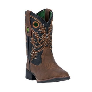 John Deere Western Boot Boys Kids Broad Toe Steel Shank Brown JD2025
