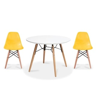 Overstock 2xhome Modern Accent Kids Toddler Children Side Armless Chair and Round Table Combo with Eiffel Natural Wooden Legs for Dining (Yellow)