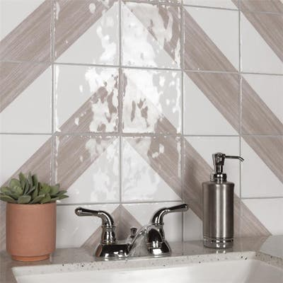 """SomerTile Triangle Rustique Glossy Taupe 6"""" x 6"""" Ceramic Wall Tile"""