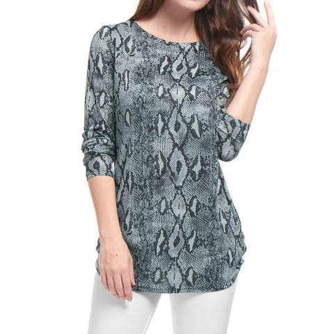 Unique Bargains Woman Printed Round Neck Long Sleeves Relax Fit Tunic Knitted Top