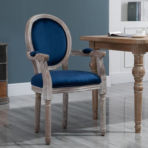 HOMCOM Vintage Dining Chair with Round Back, Thick Sponge Padded Seat and Section Armrest with Wood Frame
