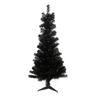 "4' x 29"" Pre-Lit Slim Black Artificial Tinsel Christmas Tree- Clear Lights"