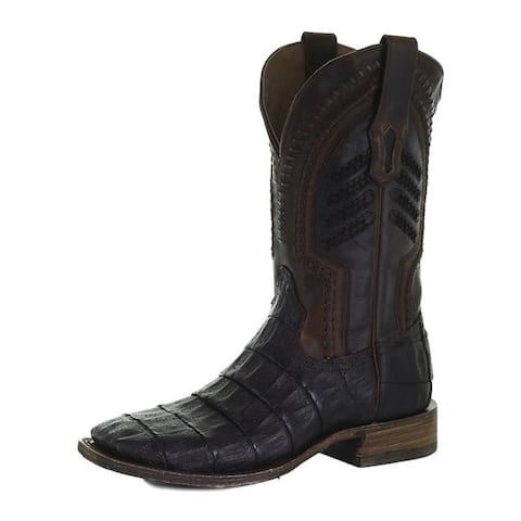 Corral Western Boots Mens Square Toe Caiman Tail Vamp Embroidery