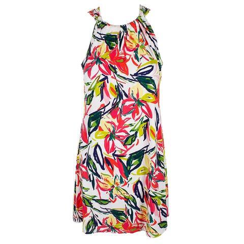 Msk Petite White Multi Sleeveless Floral-Print Shift Dress PM