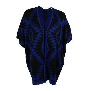 NY Collection Women's Tribal Intarsia Poncho Cardigan