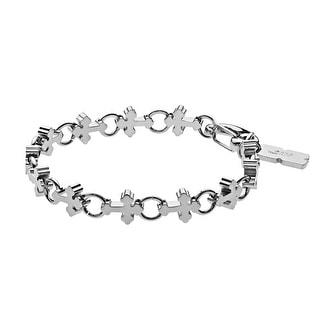Black and Blue Men's Cross Bracelet in Stainless Steel - White