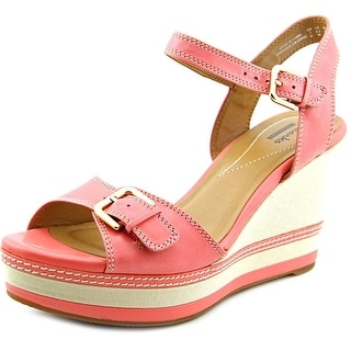 Clarks Zia Castle Women Open Toe Leather Pink Wedge Sandal