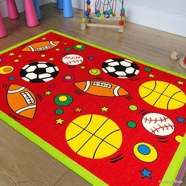 "Allstar Kids / Baby Room Area Rug. Sports. Football. Basketball. Soccer and Baseball. Bright Red Colors (3' 3"" x 4' 10"")"