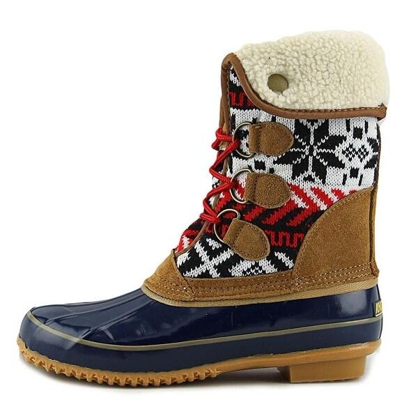 Khombu Womens Jenna Leather Closed Toe Mid-Calf Cold Weather Boots