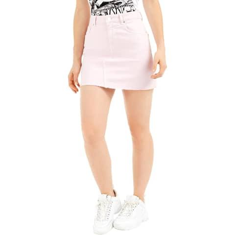 Guess Womens India Denim Skirt Frayed Hem Mini - Flora Pink