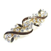 Unique Bargains Rhinestone Decor Brown Bowknot Metal Hairpin Hair Clip Gold Tone