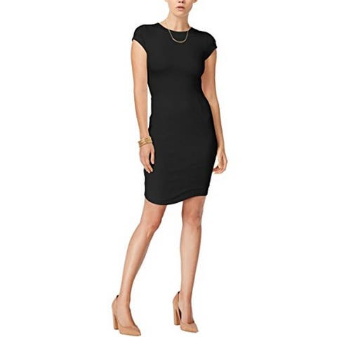 Bar III Womens Solid Cap Sleeves Bodycon Fashionable Dress Black M - Medium