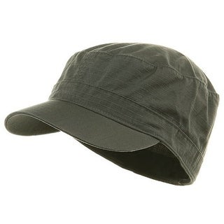 Fitted Cotton Ripstop Army Cap-Charcoal