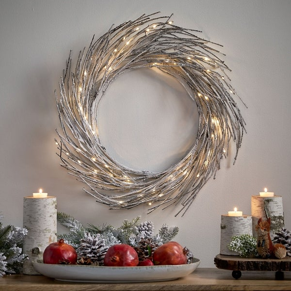 "Elise 24"" Pre-lit Warm White LED Christmas Wreath - Snowy. Opens flyout."