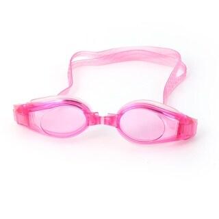 Silicone Strap Plastic Frame Adjustable Stretchy Swimming Goggles Fuchsia