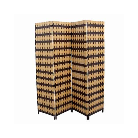 Wood and Paper Straw Weave 4 Panel Screen with 2 Inch Legs, Brown - 70.75 H x 1 W x 70.5 L Inches