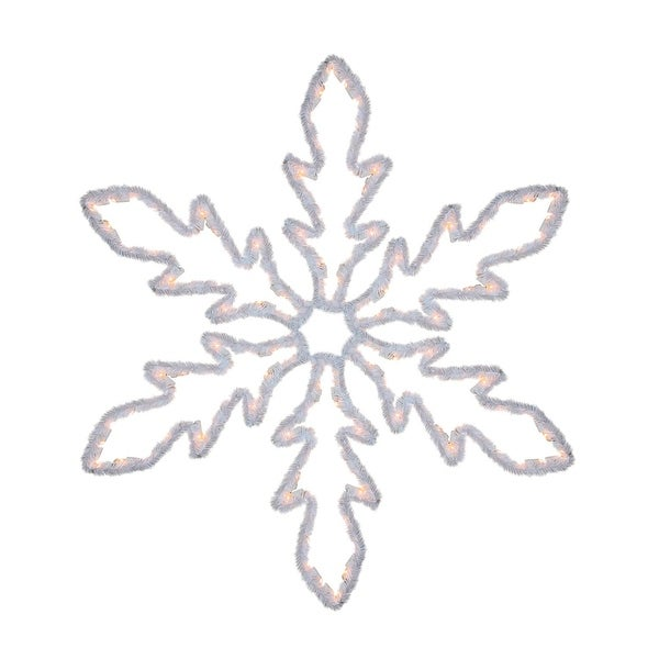 """36"""" Lighted White Hanging Snowflake Christmas Outdoor Decoration - Clear Lights"""