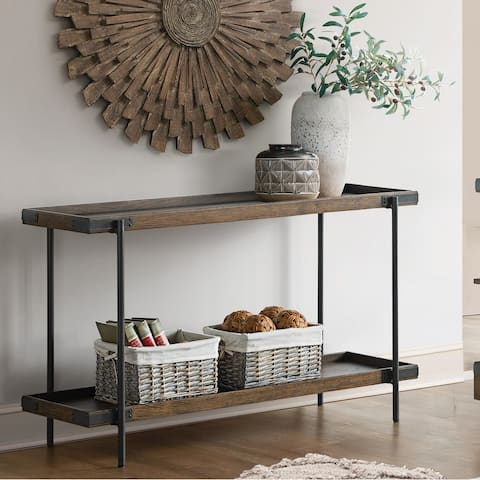 """Kyra 48""""L Oak and Metal Sofa/TV Console Table with Shelf - Standard"""