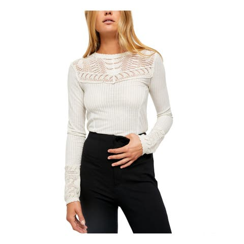 FREE PEOPLE Womens Beige Long Sleeve T-Shirt Top Size XS