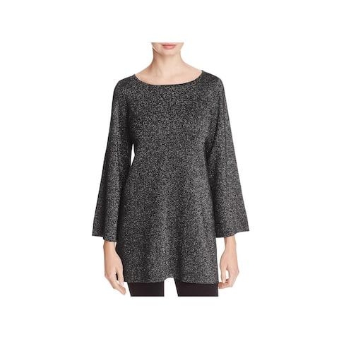 Eileen Fisher Womens Tunic Sweater Merino Wool Metallic