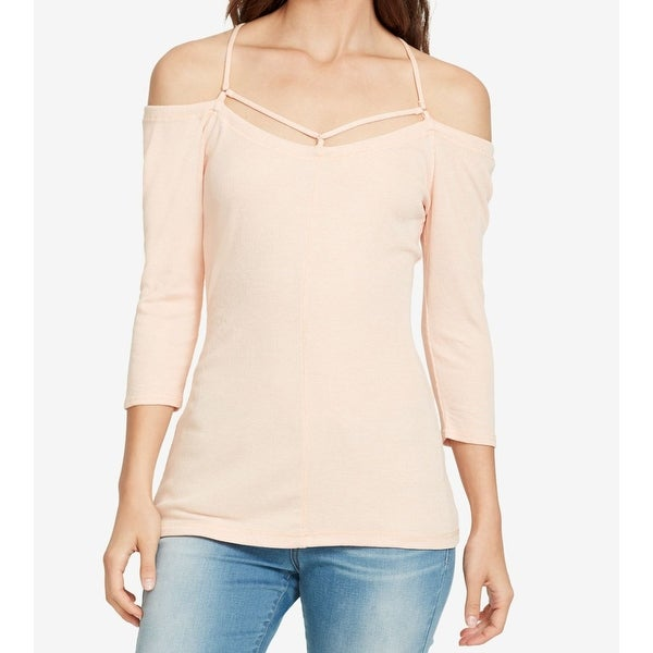 William Rast Pink Women's XS Cut Out Off Shoulder Ribbed Knit Top