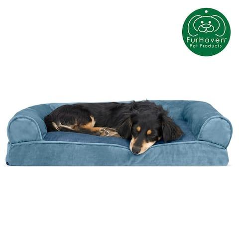 FurHaven Pet Faux Fur & Velvet Pillow Sofa Dog Bed