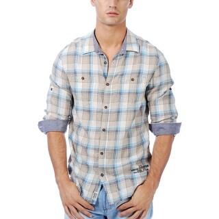 Buffalo By David Bitton Casual Shirt X-Large Tan and Blue Plaid Long Sleeves