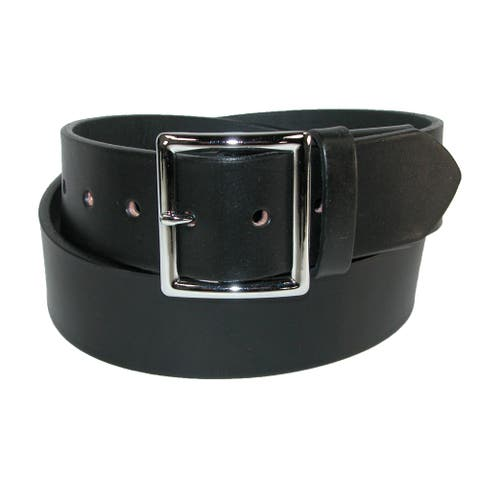 Boston Leather Men's Leather Garrison Stretch Belt with Hidden Elastic