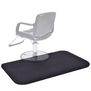 Gymax Black Rectangle 5'x3' 1/2'' Barber Salon Anti Fatigue Floor Mat Beauty Supplier