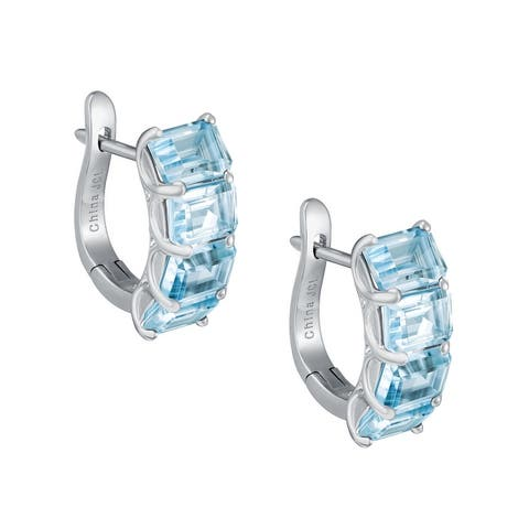4-Stone Emerald Cut Gemstone Huggie Earrings Ring, Sterling Silver
