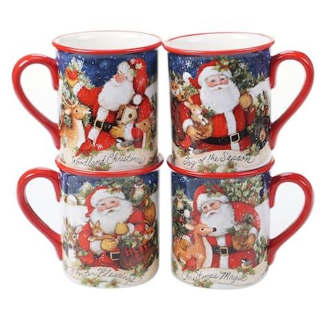 Certified International Magic Of Christmas Santa 16 oz. Mugs (Set of 4)