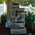 Sunnydaze Ancient Cascading Bowls Outdoor Water Fountain 33 Inches Tall - Thumbnail 0