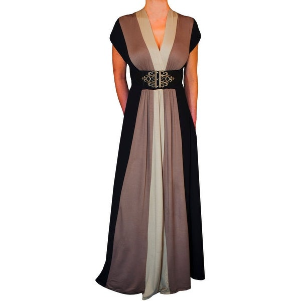 Funfash Plus Size Dress Black Caramel Tan Women Cocktail Maxi Dress