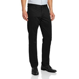 Dockers Mens The Broken In Slim Tapered Fit Flat Front Pant, Black