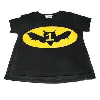 Reflectionz Black Yellow Bat Boy Cape Birthday T-Shirt Boys 12M-3T