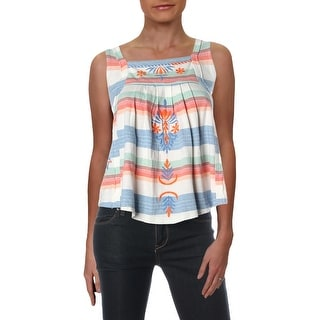Free People Womens Pullover Top Striped Square Neck