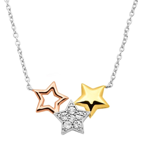 Star Garland Necklace with Diamonds in 14K Two-Tone Gold-Plated Sterling Silver