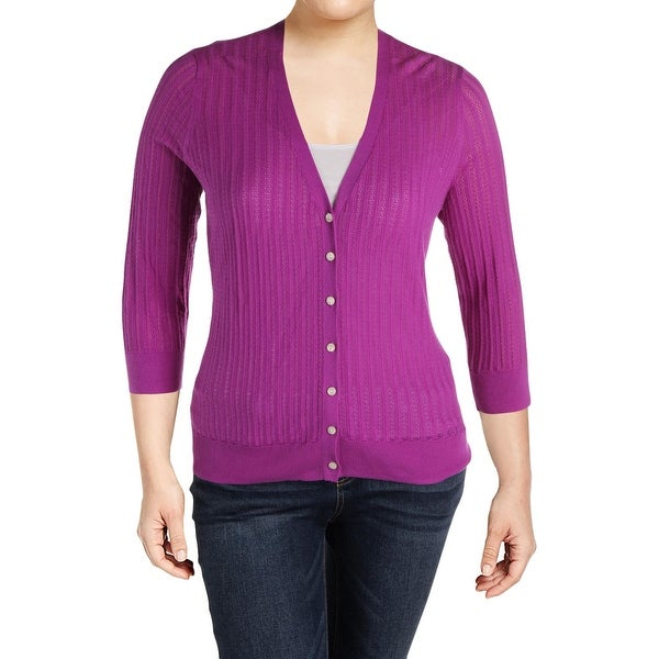 Lauren Ralph Lauren Womens Plus Cardigan Top Cotton Eyelet