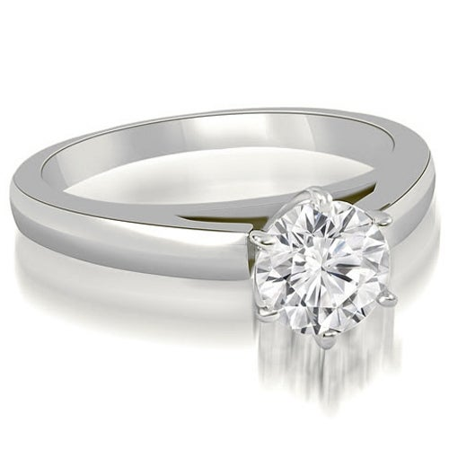 0.75 cttw. 14K White Gold Cathedral Solitaire Round Cut Diamond Engagement Ring