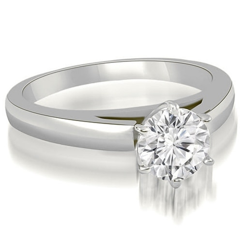 1.00 cttw. 14K White Gold Cathedral Solitaire Round Cut Diamond Engagement Ring