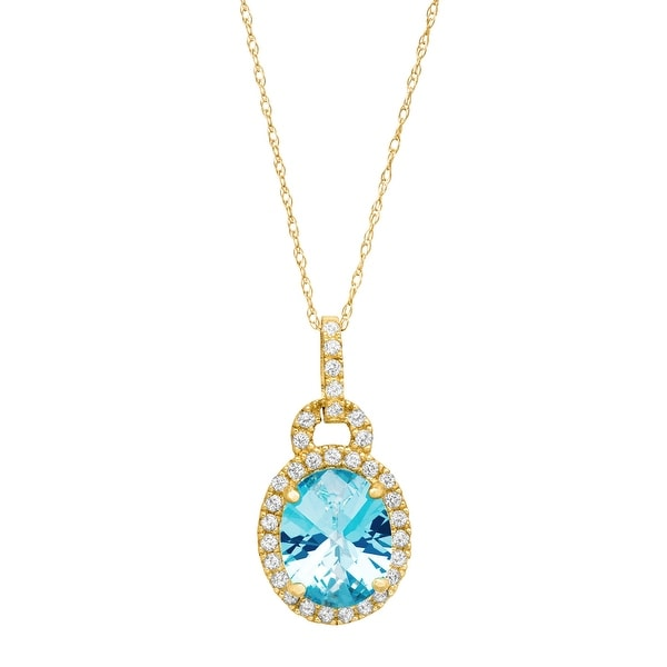 3 3/4 ct Natural Swiss Blue and White Topaz Pendant in 10K Yellow Gold