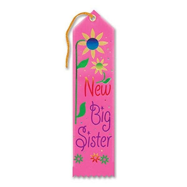 """Pack of 6 Pink """"New Big Sister Award"""" School Award Ribbon Bookmarks 8"""""""