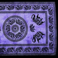 Handmade 100% Cotton Mandala Elephant Tapestry Tablecloth Coverlet 60x90 Purple Twin