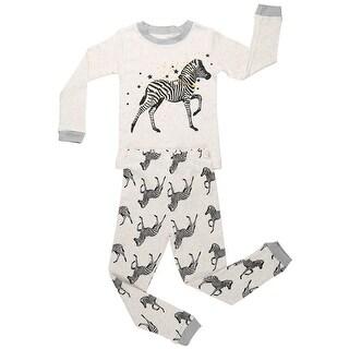 Elowel Boys Grey Zebra Print Long Sleeve Cotton 2 Pc Pajama Set