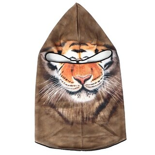 Unique Bargains Motorcycle Balaclava Hood Tiger Head Pattern Face Protector Mask Helmet Brown