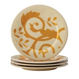Rachael Ray Dinnerware Gold Scroll 4-Piece Round Appetizer Plate Set - Cream